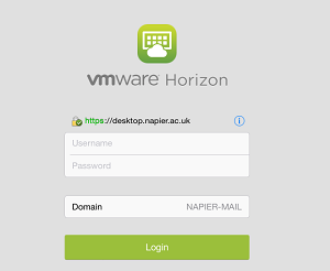 VMWare login screen