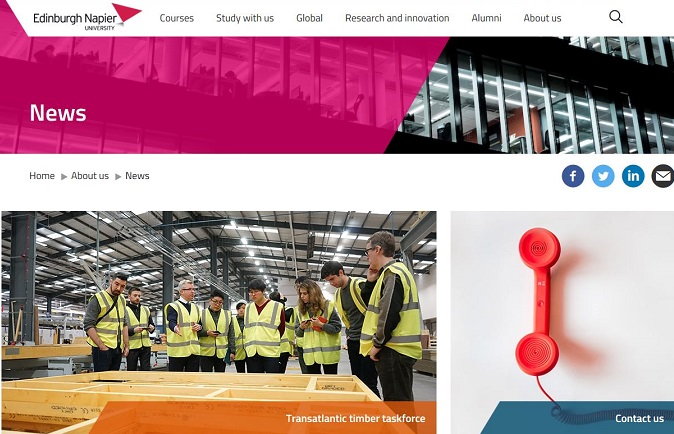 News centre of Edinburgh Napier website